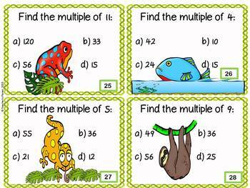 Rainforest Multiples Task Cards and Scoot