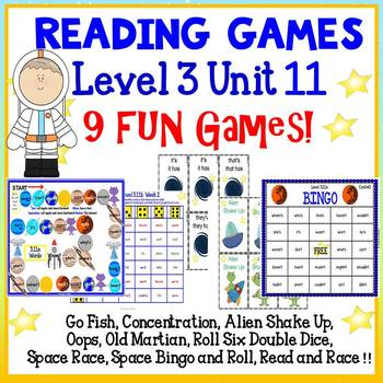 Reading Games - Contractions - Level 3 Unit 11 - 9 Fun Games!