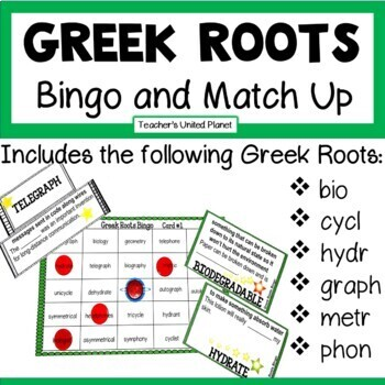 Reading Games - Greek Roots Bingo and Match Up