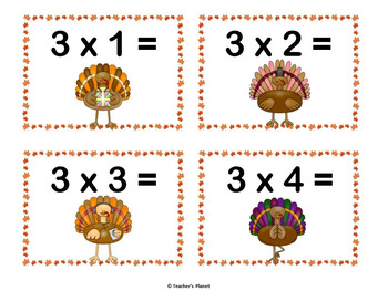 Thanksgiving Multiplication Games - War and Turkey Trouble
