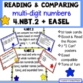 Reading & Writing Multi-Digit Numbers and Comparing Numbers 4.NBT.2 Task Cards