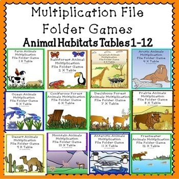 Multiplication Games - File Folder Animal Habitats Bundle!