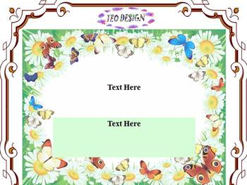 BUTTERFLY AND  FLOWERS Editable Template PowerPoint