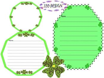 St. Patrick's Day - Writing paper - St. Patrick - Frames - Clovers