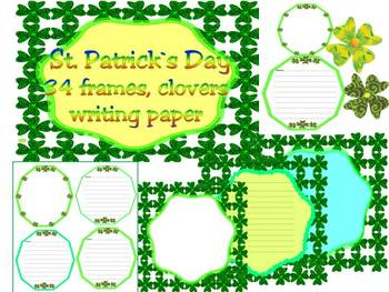 St. Patrick's Day - Writing paper - St. Patrick - Frames -