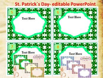 St. Patrick's Day - Task Cards - Editable Template