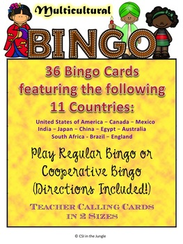Multicultural Bingo - 36 Cards - 11 Countries