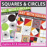 2D Shapes Math Art Bundle| Geometry, Circles and Squares
