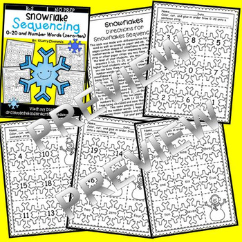 Snowflake Sequencing 0-20 and Number Words (zero-ten)