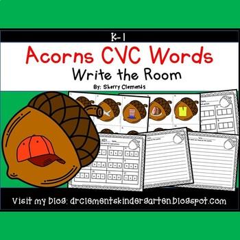 Acorns Write the Room (CVC Words)