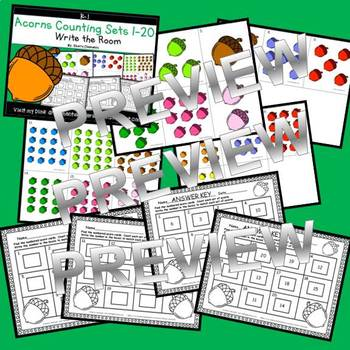 Acorns Write the Room (Counting Sets 1-20)