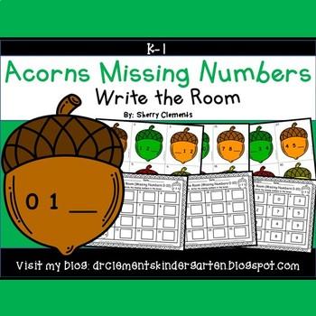 Acorns Write the Room (Missing Numbers 0-10)