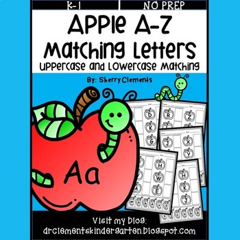Apple A-Z Match Uppercase and Lowercase Letters (Cut and Paste)