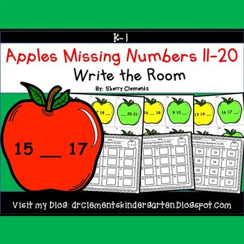 Apples Write the Room (Missing Numbers 11-20)