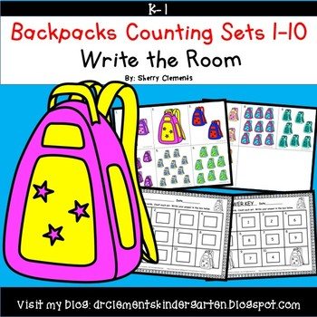 Backpacks Write the Room (Counting Sets 1-10)