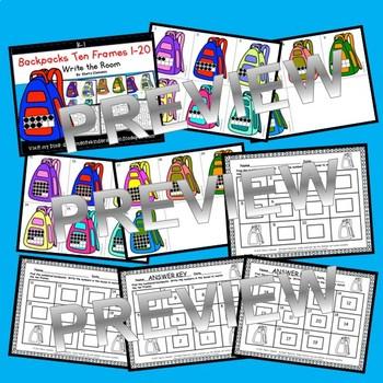 Backpacks Write the Room (Ten Frames 1-20)