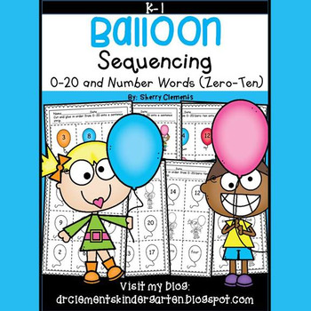 Balloon Sequencing 0-20 and Number Words (zero-ten)