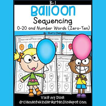 Balloon Sequencing 0-20 and Number Words (zero-ten)