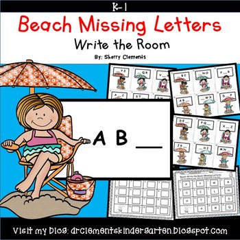 Summer Beach Write the Room Missing Letters