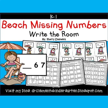 Summer Beach Write the Room (Missing Numbers 0-10)
