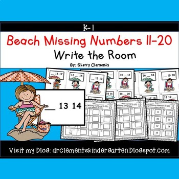 Summer Beach Write the Room Missing Numbers 11-20