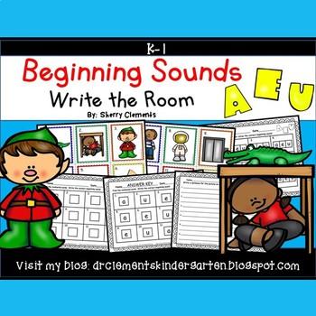 Beginning Sounds (A, E and U) Write the Room