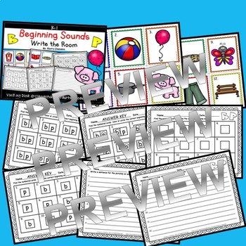 Beginning Sounds (B and P) Write the Room