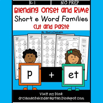 Blending Onset and Rime (Short e Word Families) (Cut and Paste)