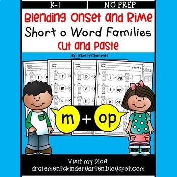 Blending Onset and Rime (Short o Word Families) (Cut and Paste)