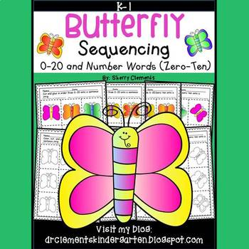 Butterfly Sequencing 0-20 and Number Words (zero-ten)