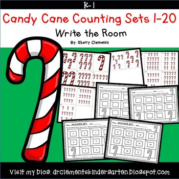 Candy Canes Write the Room (Counting Sets 1-20)