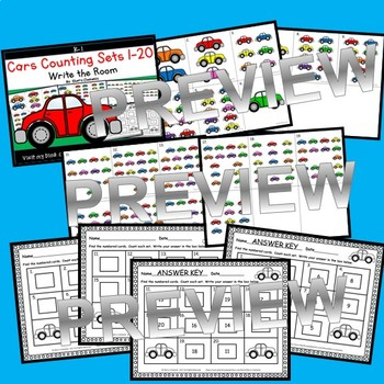 Cars Write the Room Counting Sets 1-20 (Set 2)
