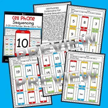 Cell Phones Sequencing 0-20 and Number Words (zero-ten)