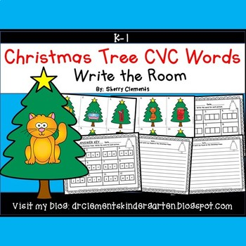 Christmas Tree Write the Room (CVC Words)