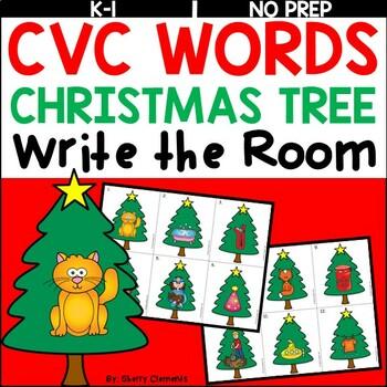 Christmas Tree Write the Room (CVC Words)