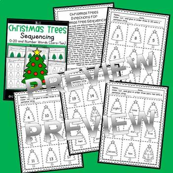 Christmas Trees Sequencing 0-20 and Number Words (zero-ten)