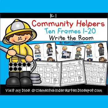 Community Helpers Write the Room (Ten Frames 1-20)