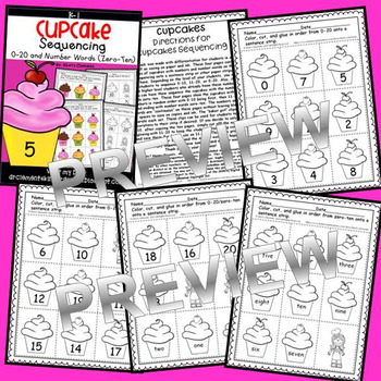 Cupcake Sequencing 0-20 and Number Words (zero-ten)