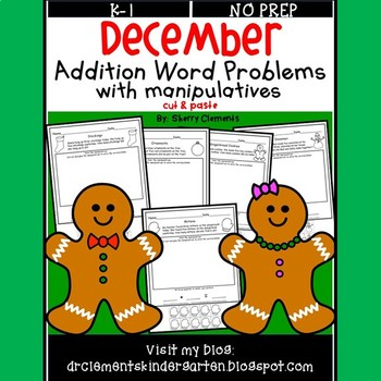 December Addition Word Problems with Manipulatives