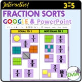 Digital Google or PowerPoint Fraction Sorts equal fractions comparing ordering
