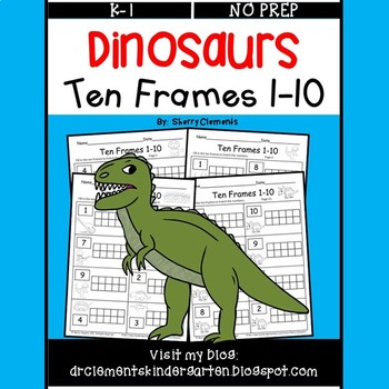 Dinosaurs Ten Frames 1-10 (Fill in the Ten Frames)