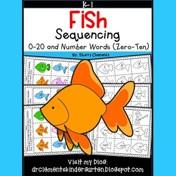 Fish Sequencing 0-20 and Number Words (zero-ten) Set 1