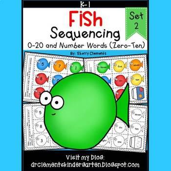 Fish Sequencing 0-20 and Number Words (zero-ten) Set 2