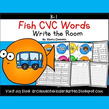 Fish Write the Room (CVC Words)