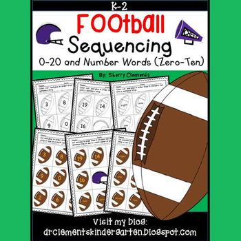 Football Sequencing 0-20 and Number Words (zero-ten)