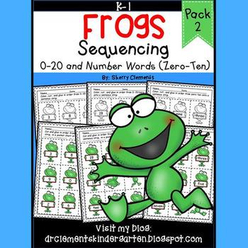 Frogs Sequencing 0-20 and Number Words (zero-ten)