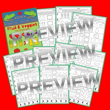 Fruit and Veggies Greater Than Less Than Equal To Printables