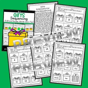 Gifts Sequencing 0-20 and Number Words (zero-ten)