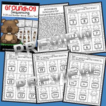 Groundhog Sequencing 0-20 and Number Words (zero-ten)