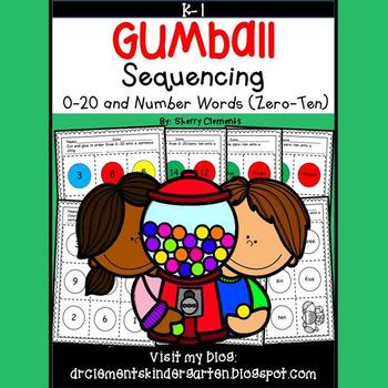 Gumball Sequencing 0-20 and Number Words (zero-ten)